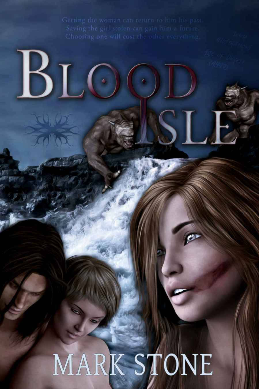 The beautiful cover of Blood Isle by Mark Stone