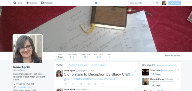 My twitter profile page